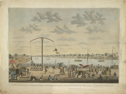 'View on the banks of the Ganges with representation of the Churruck Poojah, a Hindoo holiday'. Aquatint with etching by and after James Moffat, published Calcutta c.1806